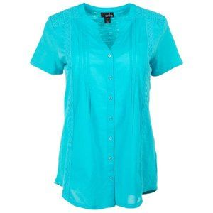 Short Sleeve Y-Neck Button Front Mermaid Top